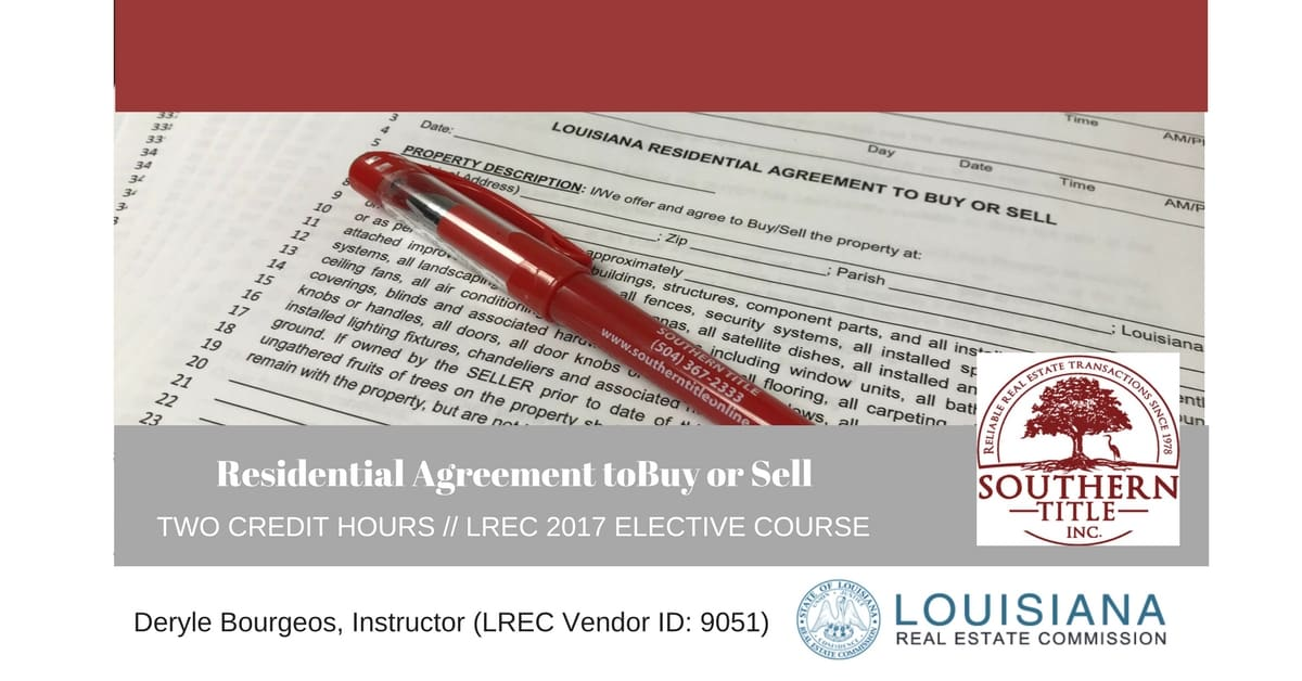 Residential Agreement To Buy Or Sell Class